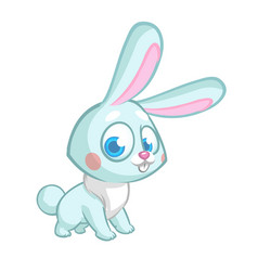 happy blue rabbit cartoon isolated vector image vector image