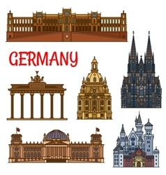 Historic buildings and sightseeings of germany vector