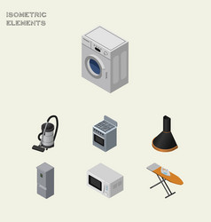 Isometric electronics set of stove air extractor vector