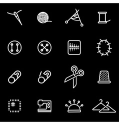 line sewing icon set vector image