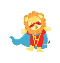 Lion animal dressed as superhero with a cape comic vector