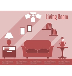 Living room interior flat infographic with text vector image vector image