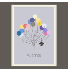 pastel colored winter poster with Christmas tree vector image