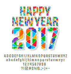 Patched colorful Happy New Year 2017 greeting card vector image
