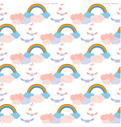 rainbow winged envelopes vector image vector image