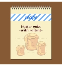Recipe book easter cake with raisins vector