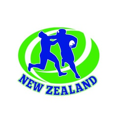 Rugby player tackle fending new zealand vector