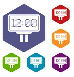 Scoreboard icons set hexagon vector