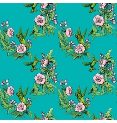 Seamless pattern Colibri and flowers on blue vector image