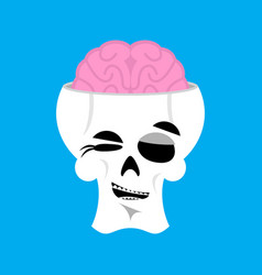 Skull and brain winks emoji skeleton head happy vector
