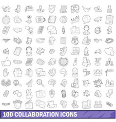 100 collaboration icons set outline style vector