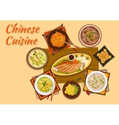 Chinese cuisine meat and hot soup dishes flat icon vector