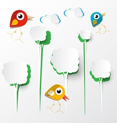 Paper cut trees with birds on paper background vector