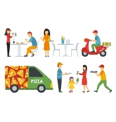 People in a pizzeria bistro interior flat icons vector