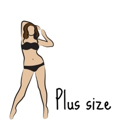 Girl silhouette sketch plus size model curvy vector