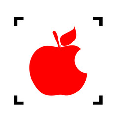 Bite apple sign red icon inside black vector