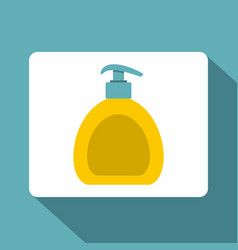 Yellow liquid soap bottle icon flat style vector
