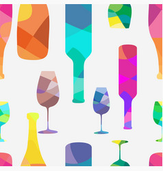 Wine bottle and a wineglasses pattern vector
