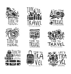 Time to travel set for label design black vector