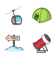 funicular tent road sign snow cannon ski vector image