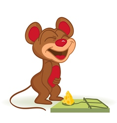 Mouse and cheese in mousetrap vector