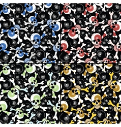 Set of four skulls seamless pattern vector