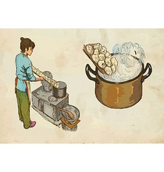 Prepare pasta hand drawn and colored vector