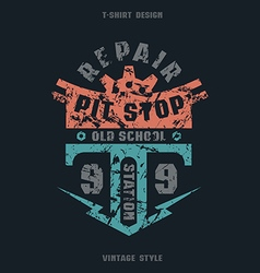 Pit stop badge with texture vector