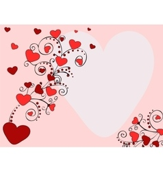Pattern red heart valentines day postcard vector