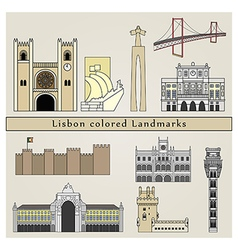 Lisbon colored Landmarks vector image