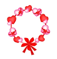 A Valentine Wreath of Heart and Bows vector image