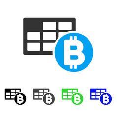 Bitcoin table flat icon vector