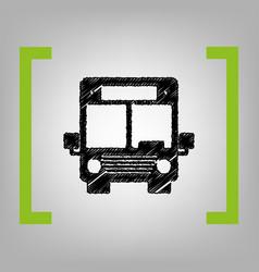Bus sign black scribble icon vector