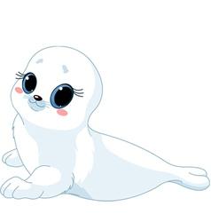 cartoon baby seal vector image vector image