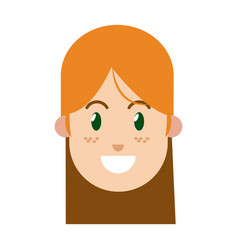 Character woman female green eye freckles vector