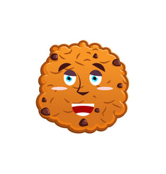 Cookies happy emoji biscuit emotion merry food vector