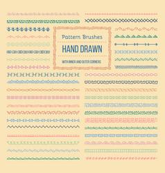 Ethnic style pattern brushes set vector