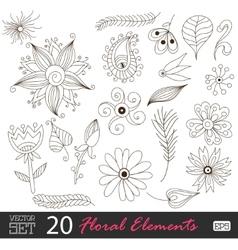 Floral vintage flower pattern set vector image vector image