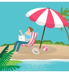 Freelancer working remote enjoy on the beach sand vector
