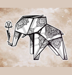 Geometric origami elephant in paisley with flower vector