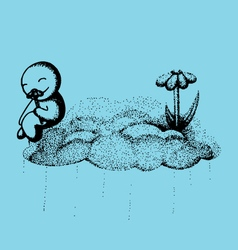 Happy cloud doodle vector image vector image