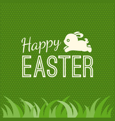 Happy easter and bunny jump over grass vector