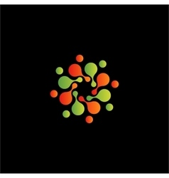 Isolated abstract orange and green flower vector