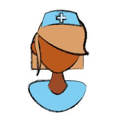 Isolated women nurse face vector