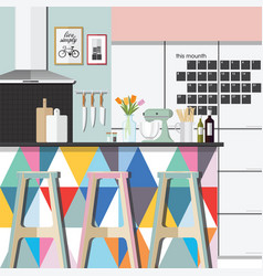 Kitchen room color style vector