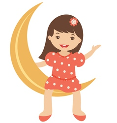 Little girl sitting on moon vector image