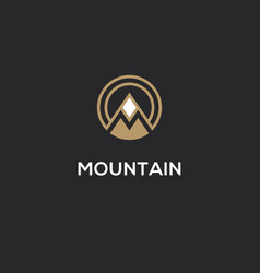 mountain logo with letter m in a shape of circle vector image vector image