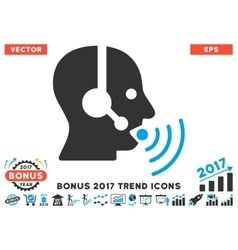 Operator talking sound waves flat icon with 2017 vector