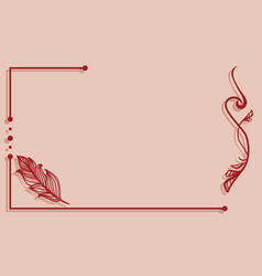 Ornate line art frame with feather vector