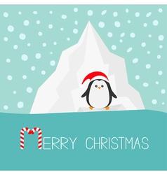 Penguin in red santa hat iceberg blue water snow vector